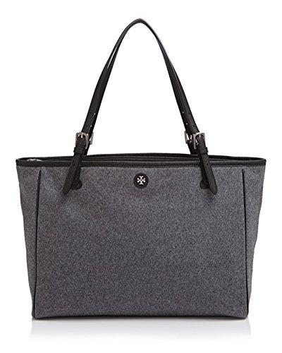 Tory Burch Small York Flannel Tote Grey Handbag Bag New