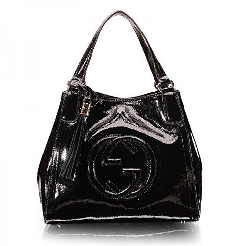 Gucci Patent Soho Tote Black Patent Leather Shoulder Gold Hardware Handbag Bag