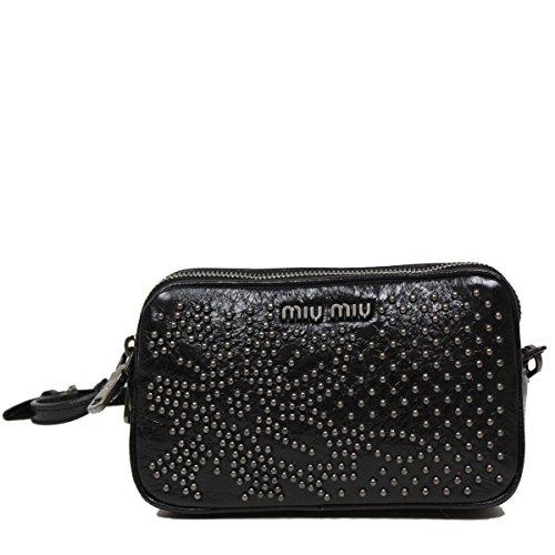 Miu Miu by Prada Borch Cellulare Studded Leather Wristlet Pouch Bag 5ARH02, Black