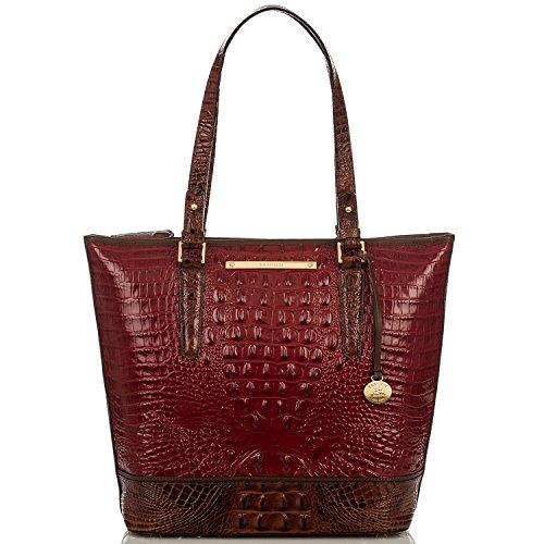Brahmin Asher Carmine Red Tri-texture Leather Shoulder Bag
