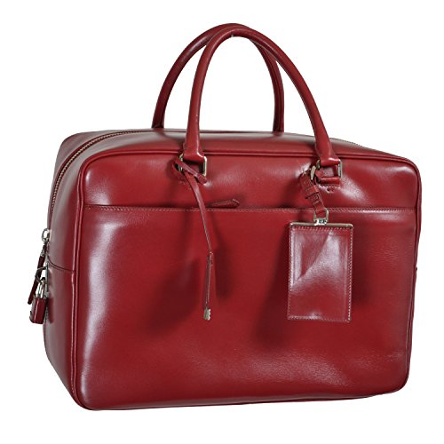 Prada Unisex Cherry Red Leather Travel Satchel Handbag