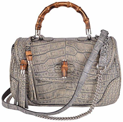 Gucci Women's Crocodile Bamboo Convertible Handbag