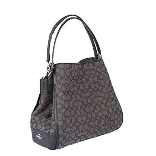 Coach Signature Phoebe Tote Carryall Handbag Shoulder Bag Smoke / Black F36424