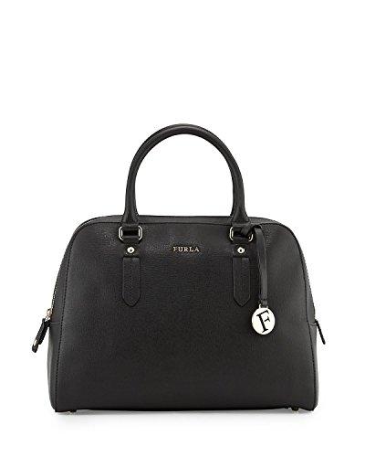 Furla Elena Saffiano Leather Satchel Bag, Onyx, Large