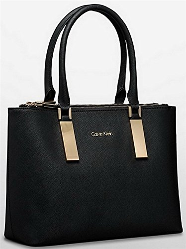 Calvin Klein Scarlett Double Zip Carry All Bag Handbag Purse Black