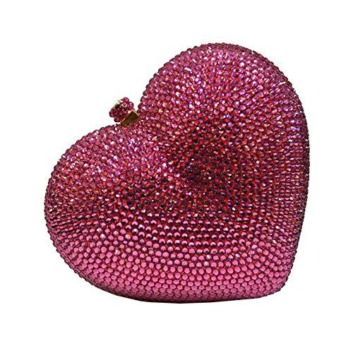 Qi Tian® Heart shape red Clutch Purse bags Handmade Rhinestone Diamond Crystal Evening crossbody bags Chain handbags for women girls