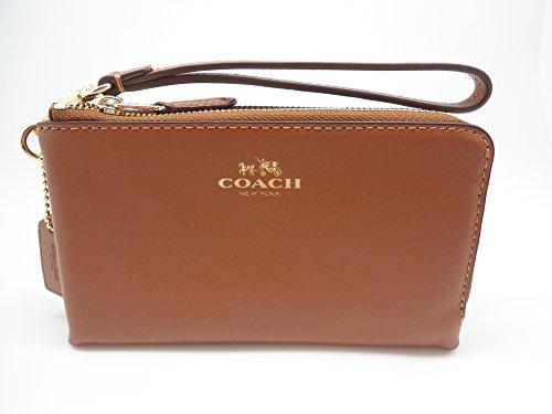 Coach F64581 Smooth Leather Double Corners Zip Wristlet Saddle