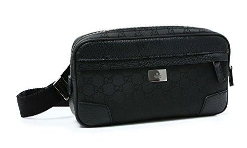 Gucci 'GG' Logo Nylon & Leather Fanny Pack Belt Bag 336672, Black