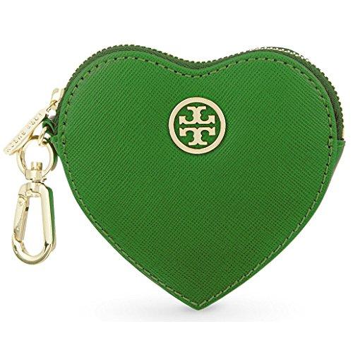 Tory Burch Saffiano Heart Coin Case Key Fob Green