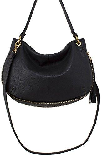 Hobo Handbags Supersoft Leather Vale Convertible Crossbody – Black