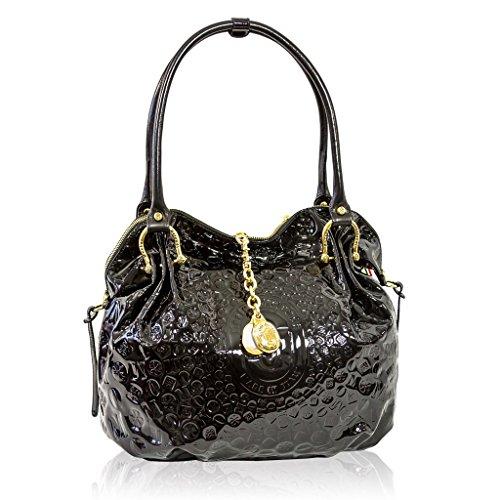 Marino Orlandi Italian Designer Black Patent Sunray Monogram Leather Purse Bag