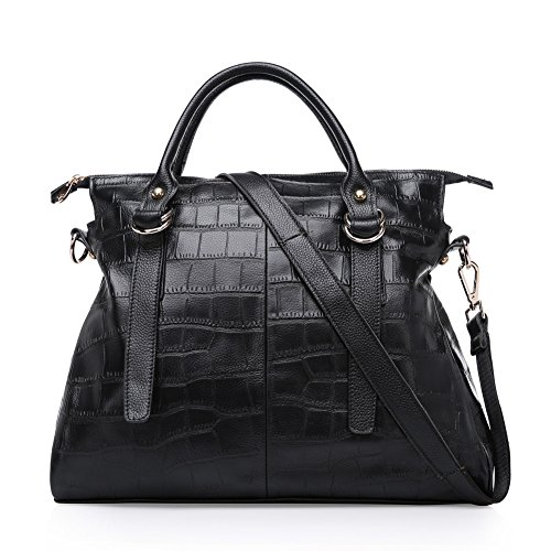 Kattee Women's Crocodile Print Real Cow Leather Satchel Shoulder Bag