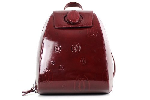 CARTIER® DOUBLE C LOGO Backpack Sidepack HAPPY BIRTHDAY Handbag. BURGUNDY. Made in FRANCE. SMALL
