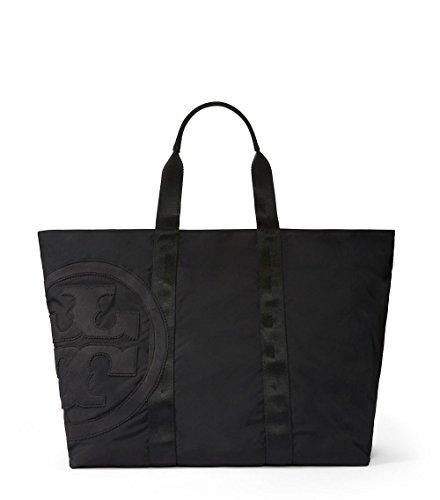 Tory Burch Medium Penn Logo Nylon Tote in Black