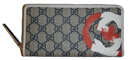Gucci Unicef Beige Canvas GG Guccissima Canadian Flag Zip Around Wallet Limited Edition