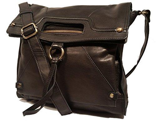 Lucky Brand Abbey Road Black Fold Over Leather Crossbody LBT1841