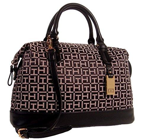 Tommy Hilfiger Logo Satchel Shoulder Bag Handbag Purse (Black/ Beige)