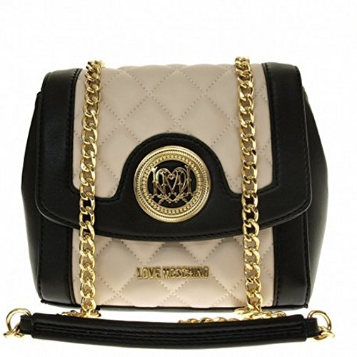 LOVE MOSCHINO Shoulder Quilted Clutch Black-Ivory-Italian Handbags