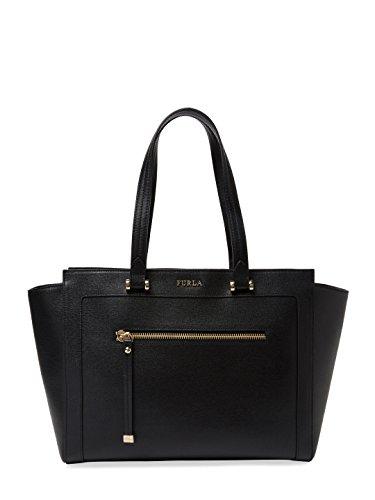 Furla Ginevra Saffiano Leather Tote Bag, Onyx, Medium