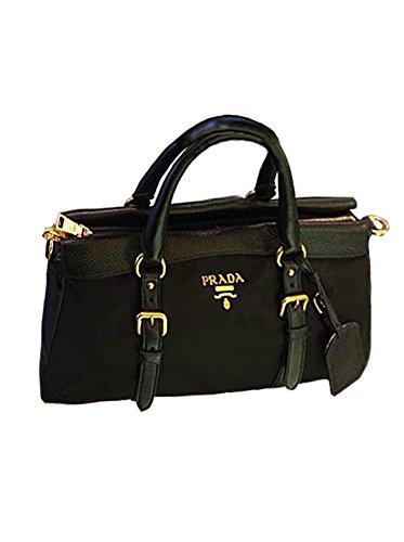 Prada Leather Nylon Satchel Handbag Purse