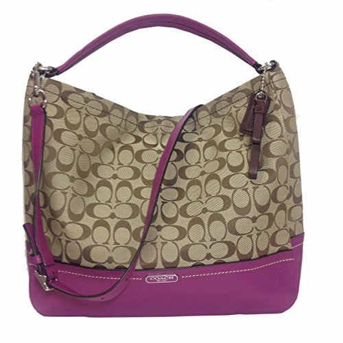 Coach 23279 Khaki & Amethyst Park Signature Hobo Shoulder Bag