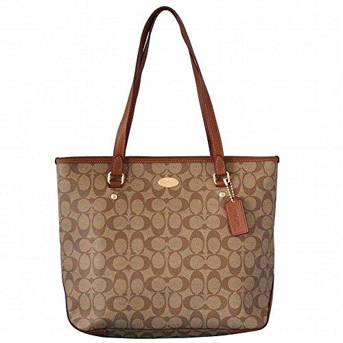 Coach Signature Zip Top Tote Shoulder Handbag 34603