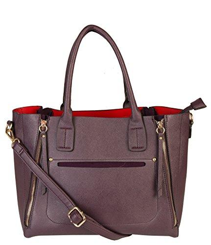 Rimen & Co. Womens Front Zipper Handbag Fashion Taiga Leather Purse SZ-2810