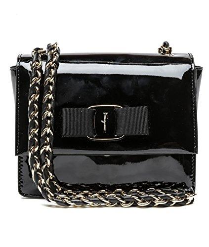 Wiberlux Ferragamo Women's Chain Strap Flap Leather Bag