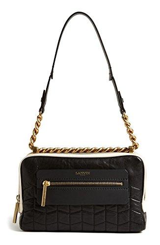 Lanvin Padam Authentic Quilted Double Zip Shoulder Bag Black New