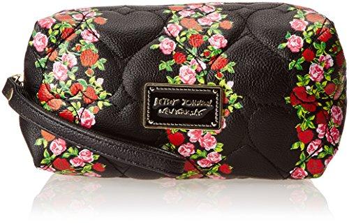 Betsey Johnson Striped Floral Box Shape Wristlet Cosmetic Case