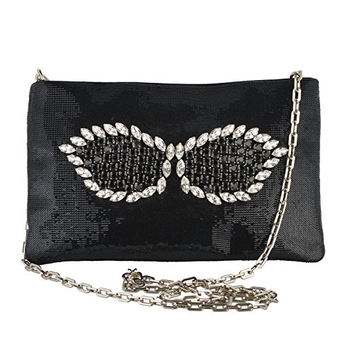Prada Women's Black Sparkle Crossbody Clutch Bag