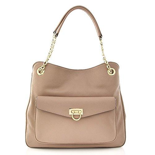 Salvatore Ferragamo Leather Beige Gold Bag