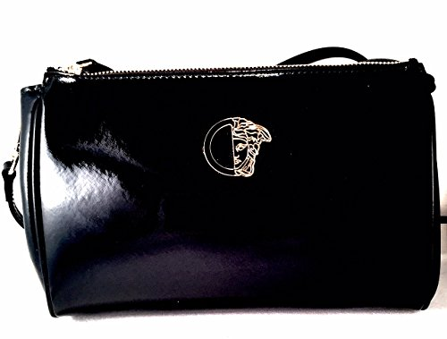 Versace Collection Shiny Leather Logo Convertible Clutch