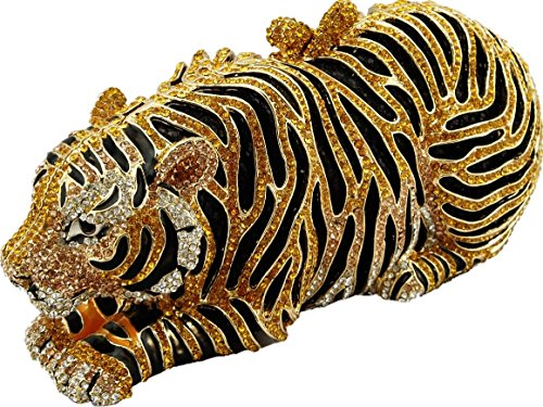 YoursFashion Luxury Crystal Tiger Evening Handbags