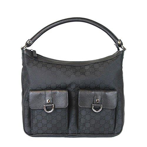Gucci Black Abbey Hobo Nylon Purse Handbag 293581 1001