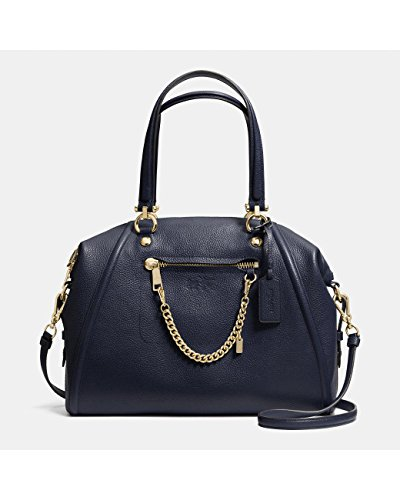 Coach Prairie Satchel with Chain in Pebble Leather Navy Blue Bag
