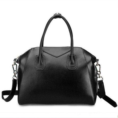 Fineplus Women's High Quality Vintage Hobo Smile Leather Tote Bag Purse Satchel Shoulder Strap Large Black