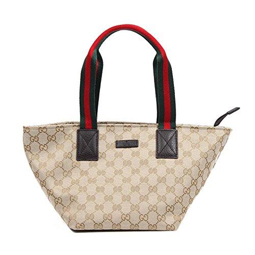 Gucci Original GG Canvas & Leather Small Tote Bag, Beige/moro 374433