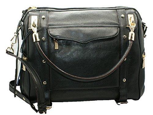 Rebecca Minkoff Cupid Leather Satchel Handbag Bag, Black