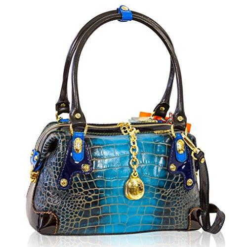 Marino Orlandi Italian Designer Cobalt Blue Croc Leather Purse Crossbody Bag