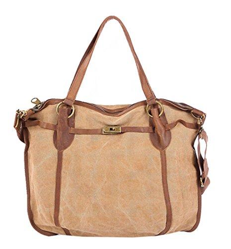 Iblue Women's 20 Inch Vintage Crazy Horse Leather Canvas Large Hobo Shoulder Bag Tote Handbag #6665