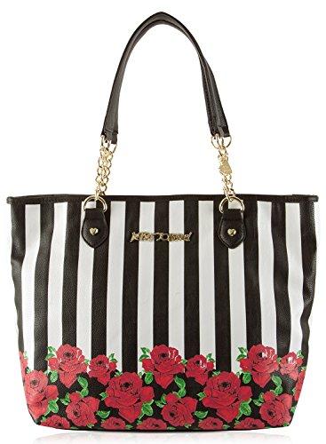 Betsey Johnson Women's Roses & Stripes Tote Black/White Tote