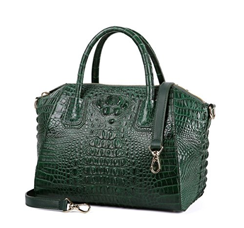 GAVADI Women's Real Crocodile Leather New Fashion Handbag Shoulder Bags Tote Bags Green S01110