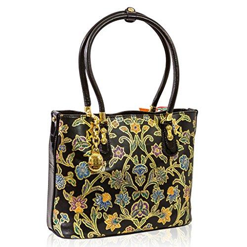 Marino Orlandi Italian Designer Gold Embroidery Printed Leather Large Purse Bag