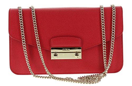 Furla Julia Saffiano Leather Handbag Crossbody Shoulder Bag in Ruby (017)