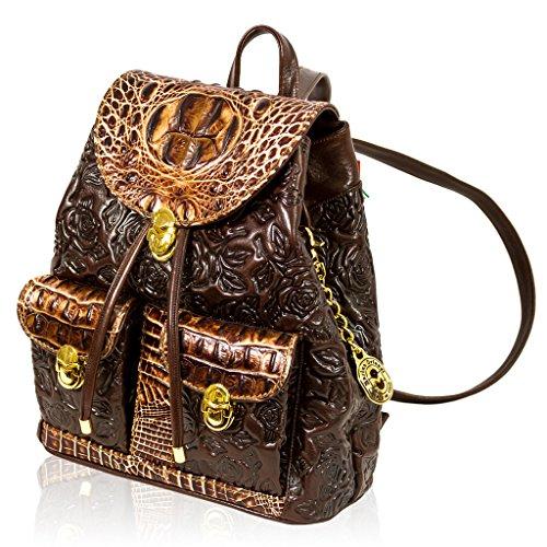 Marino Orlandi Italian Designer Brown Rose Embossed Leather Backpack Purse Sling Bag