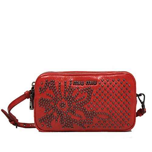 Miu Miu by Prada Borch Cellulare Studded Leather Wristlet Pouch Bag 5ARH02, Red