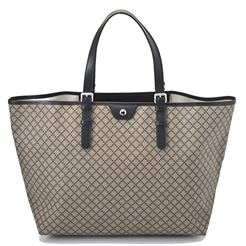 Gucci Diamante Supreme Canvas & Leather Large Tote Travel Bag 295250, Black