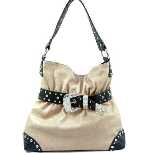 Dasein Rhinestone belt buckle front hobo bag -Khaki / Black