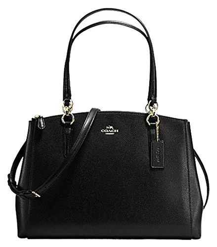 COACH Crossgrain Leather Christie Carryall Shoulder Bag Handbag Black 36606